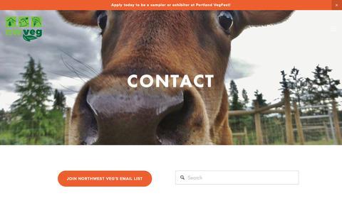 Screenshot of Contact Page nwveg.org - Contact Us — Northwest VEG - captured Oct. 18, 2018