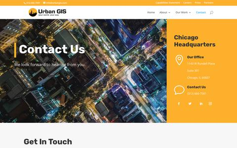 Screenshot of Contact Page urbangis.com - Contact | Urban GIS - captured July 5, 2019