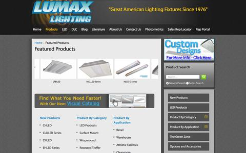 Screenshot of Products Page lumaxlighting.com - Featured Products - captured Dec. 12, 2015