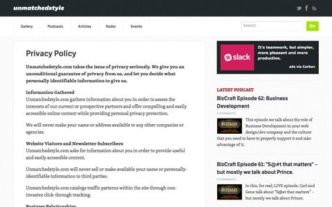 Screenshot of Privacy Page unmatchedstyle.com - Privacy Policy | Unmatched Style - captured Sept. 24, 2018