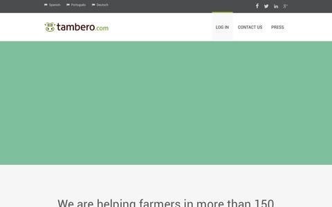 Screenshot of Home Page tambero.com - Cattle software free and easy to use Tambero.com - captured Sept. 24, 2014