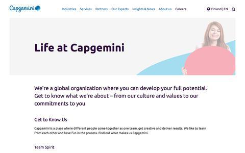 Screenshot of Jobs Page capgemini.com - Get to know Capgemini - captured Jan. 20, 2018