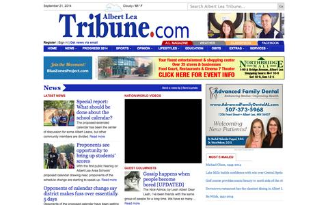 Screenshot of Press Page albertleatribune.com - News | Albert Lea Tribune - captured Sept. 23, 2014