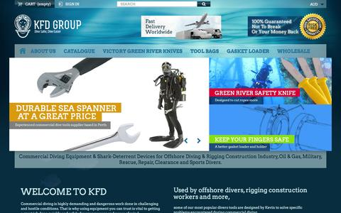 Screenshot of Home Page kfd.com.au - KFD Group. Buy Commercial Diving Tools from Experienced Saturation Diver. - KFD Group - captured Feb. 12, 2016