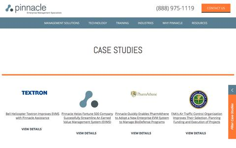 Screenshot of Case Studies Page pinnaclemanagement.com - Project Management Case Studies   Pinnacle Enterprise Management Specialists - captured Aug. 2, 2017