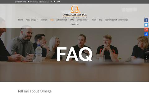 Screenshot of FAQ Page omega-asbestos.co.uk - FAQ | Omega Asbestos Consulting - captured Oct. 19, 2018