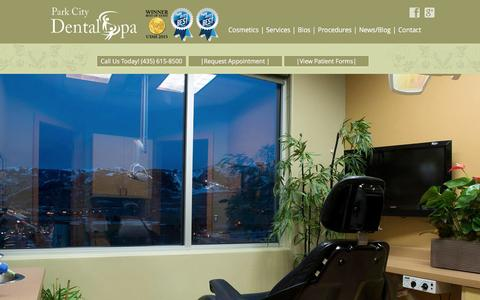 Screenshot of Services Page parkcitydentalspa.com - Voted Best Dentist In Park City, Utah 2015 With Pinhole Surgery Available - captured Dec. 7, 2015