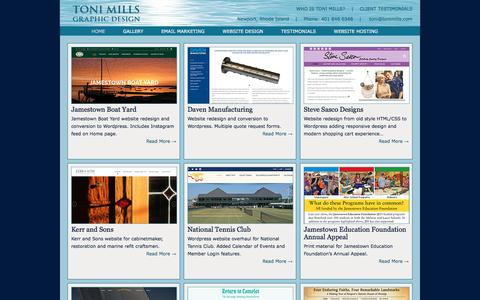 Screenshot of Home Page tonimills.com - Web Site Design, Print Design, Email Marketing, SEO, Toni Mills, Newport, RI — - captured Nov. 4, 2017