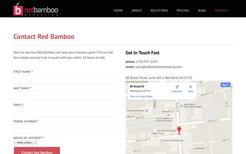 Screenshot of Contact Page redbamboomarketing.com - Contact Red Bamboo Marketing | Red Bank NJ Marketing Agency - captured Oct. 29, 2014