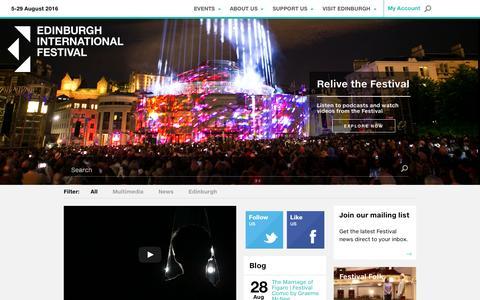 Screenshot of Home Page eif.co.uk - Edinburgh International Festival - captured Oct. 27, 2015