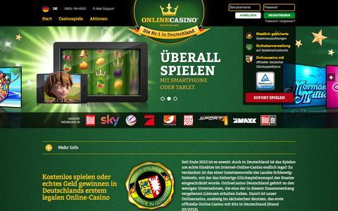 Screenshot of Home Page onlinecasino.de - onlinecasino.de - Deutschlands legales Online Casino - captured Jan. 16, 2016