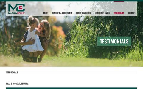 Screenshot of Testimonials Page mccloygroup.com.au - Testimonials   McCloy Group - captured Nov. 6, 2018
