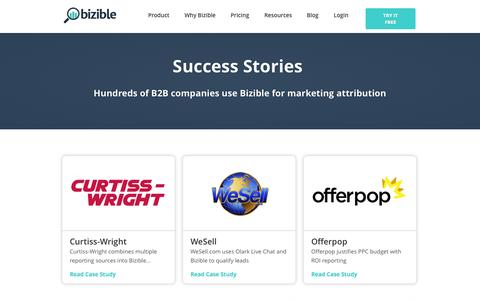Screenshot of Case Studies Page bizible.com - Case Studies - captured Oct. 1, 2015