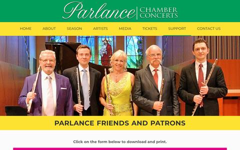 Screenshot of Support Page parlancechamberconcerts.org - Parlance Friends and Patrons - Parlance Chamber Concerts - captured Oct. 25, 2018