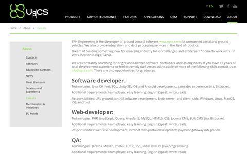 Screenshot of Jobs Page ugcs.com - Careers | UgCS - captured Nov. 18, 2016