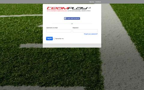 Screenshot of Login Page teamplay.ca - Login : TEAMPLAY - KW's Coed Sports League for Adults - captured Oct. 7, 2014