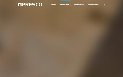 Screenshot of Products Page presco.com - Marking Products | Presco :: Manufacturer of Marking Products and Engineered Films - captured Jan. 31, 2016