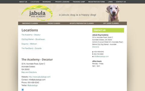 Screenshot of Locations Page jabuladogs.com - Locations - captured Oct. 13, 2018