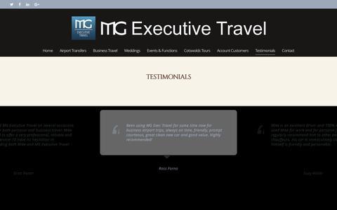 Screenshot of Testimonials Page mgexecutivetravel.co.uk - Customer Testimonials - MG Executive Travel Ltd - Gloucester Cheltenham - captured May 26, 2017