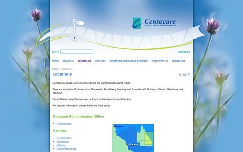 Screenshot of Locations Page centacare.net - Contact Us: Catholic Diocese of Rockhampton - Centacare - captured Oct. 2, 2014