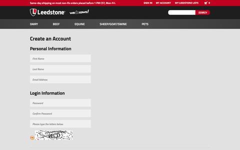 Screenshot of Signup Page leedstone.com - Create New Customer Account - captured Nov. 5, 2016