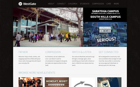 Screenshot of Home Page westgatechurch.org - WestGate Church - A Church in the San Jose, South Bay Area. - captured Sept. 3, 2015