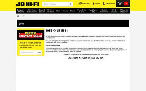 Screenshot of Jobs Page jbhifi.com.au - JB Hi-Fi | Jobs - captured Sept. 18, 2014