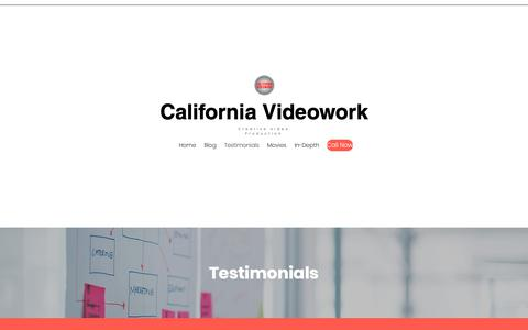 Screenshot of FAQ Page californiavideowork.com - Testimonials | California Videowork - captured Nov. 4, 2018