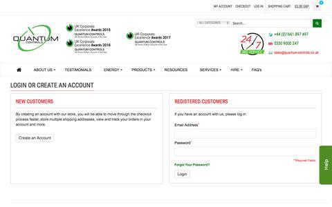 Screenshot of Login Page quantum-controls.co.uk - Customer Login | Quantum Controls Ltd. - captured July 21, 2018