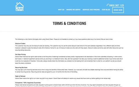 Screenshot of Terms Page grandclean.co.nz - Auckland Cleaners - North shore house cleaning| Grand Clean - Terms & Condition - captured July 17, 2016