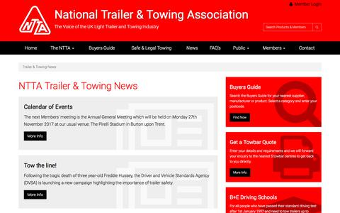 Screenshot of Press Page ntta.co.uk - NTTA Trailer & Towing Latest News - captured July 5, 2017