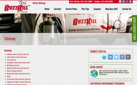 Screenshot of Site Map Page buzzkillpestcontrol.com - Sitemap   Buzzkill Pest Control - captured Oct. 5, 2014