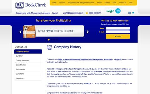 Screenshot of About Page bookcheck.co.uk - About Us | Bookkeeping Services & Management Accounts - captured Oct. 5, 2014