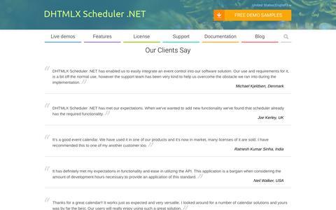 Screenshot of Testimonials Page scheduler-net.com - ASP.NET Scheduler | Event Calendar for ASP.NET - Testimonials - captured Feb. 20, 2016