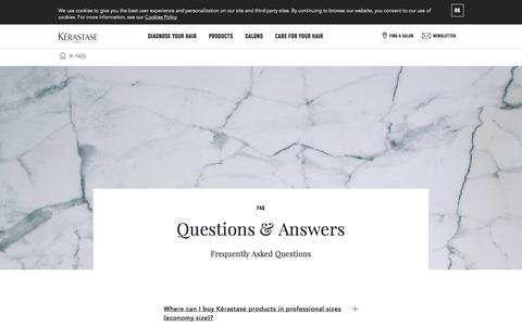 Screenshot of FAQ Page kerastase.com - Frequently Asked Questions about the Kérastase collections - captured Nov. 18, 2017