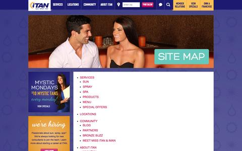 Screenshot of Site Map Page itan.com - Site Map | iTAN Sun Spray Spa - captured Oct. 6, 2014