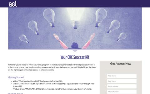 Screenshot of Landing Page acl.com - Download Your GRC Success Kit - captured Dec. 13, 2016
