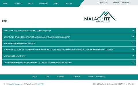Screenshot of FAQ Page malachite-mgmt.com - FAQ - captured Oct. 5, 2017