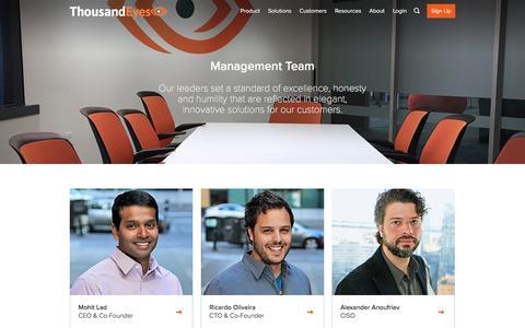 Screenshot of Team Page thousandeyes.com - Management | ThousandEyes - captured Dec. 16, 2016
