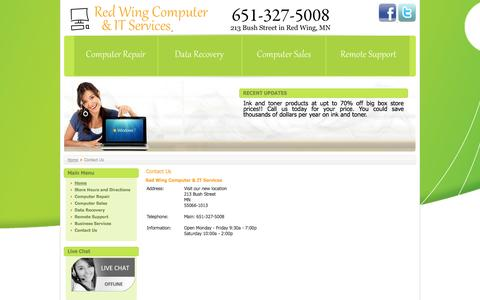 Screenshot of Contact Page redwingcomputer.com - Contact Us - captured Oct. 26, 2014