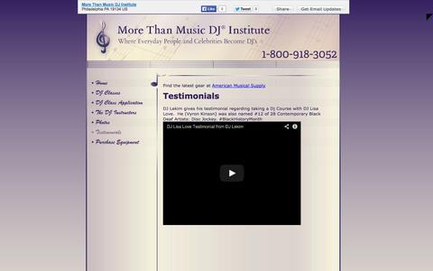 Screenshot of Testimonials Page morethanmusicdjinstitute.com - More Than Music DJ Institute - Testimonials - Philadelphia, PA - captured Oct. 9, 2014