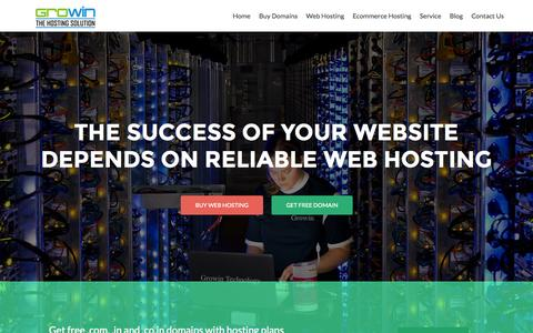 Screenshot of Home Page growintec.com - Web Hosting India, Domain Registration, Web hosting, Domain Transfer - captured Jan. 25, 2015