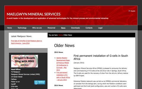 Screenshot of Press Page maelgwyn.com - Older News | Maelgwyn Mineral Services - captured Sept. 27, 2017