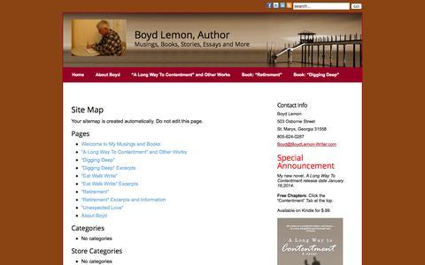 Screenshot of Site Map Page boydlemon-writer.com - Site Map » Boyd Lemon, Writer - captured Oct. 5, 2014