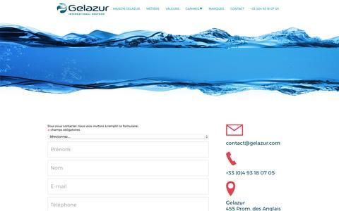 Screenshot of Contact Page gelazur.com - Contact us - captured May 15, 2017