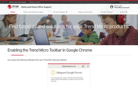 Enabling the Trend Micro Toolbar in Google Chrome
