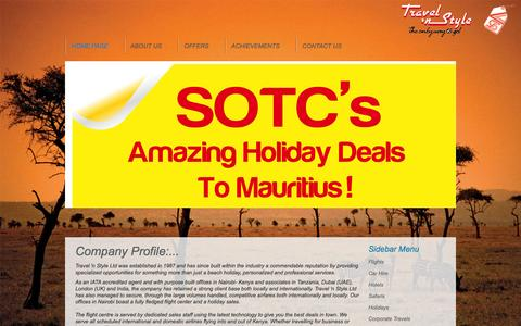 Screenshot of About Page travelinstyle.co.ke - Travel In Style: Contact Us - captured Oct. 7, 2014