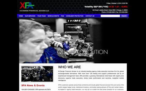 Screenshot of Home Page x-fa.com - XFA - captured Oct. 3, 2014