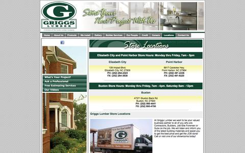 Screenshot of Locations Page griggslumber.com - Store Locations | Griggs Lumber - captured Oct. 27, 2014