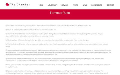 Screenshot of Terms Page wlchamber.com - Terms of Use - The Chamber - captured Sept. 24, 2018